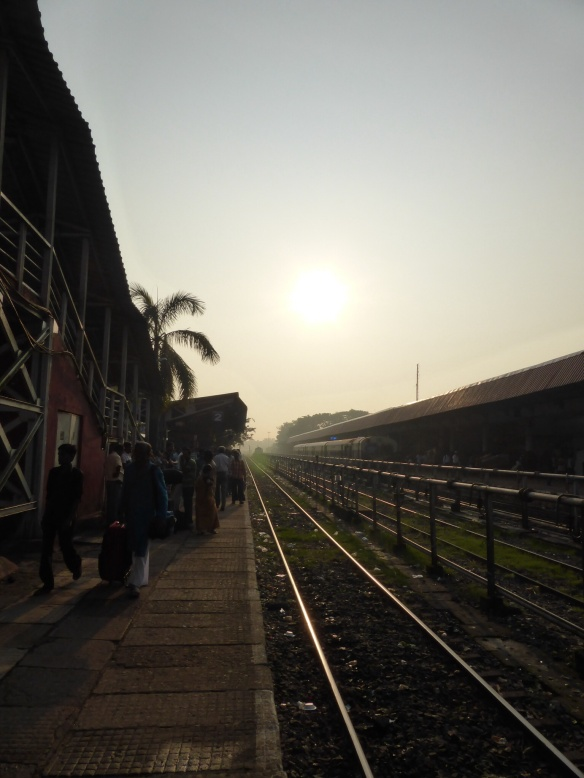 Early morning at Madgaon train station, Goa, India