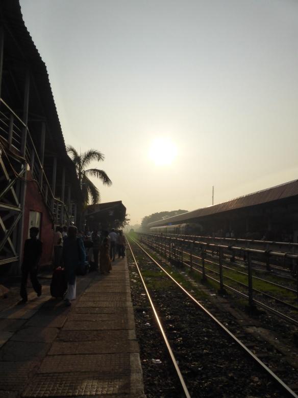 Early morning at Madgaon train station, Goa, India